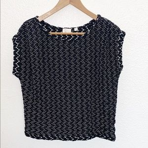 Anthropologie Postmark Braided Black And White Top